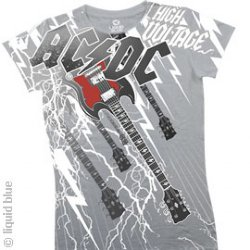 AC/DC High Voltage Grey Junior Girls-Cut Long Length Shirt