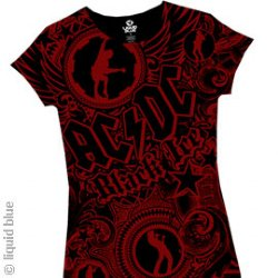 AC/DC Girls Got Rhythm Red and Black Junior Girls Cut T-Shirt